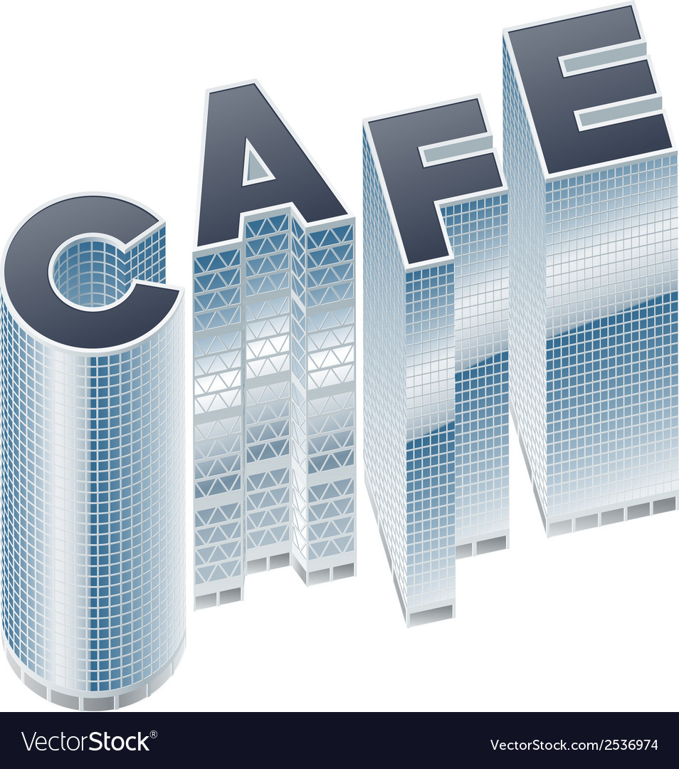 Set of buildings in word cafe vector | Price: 1 Credit (USD $1)