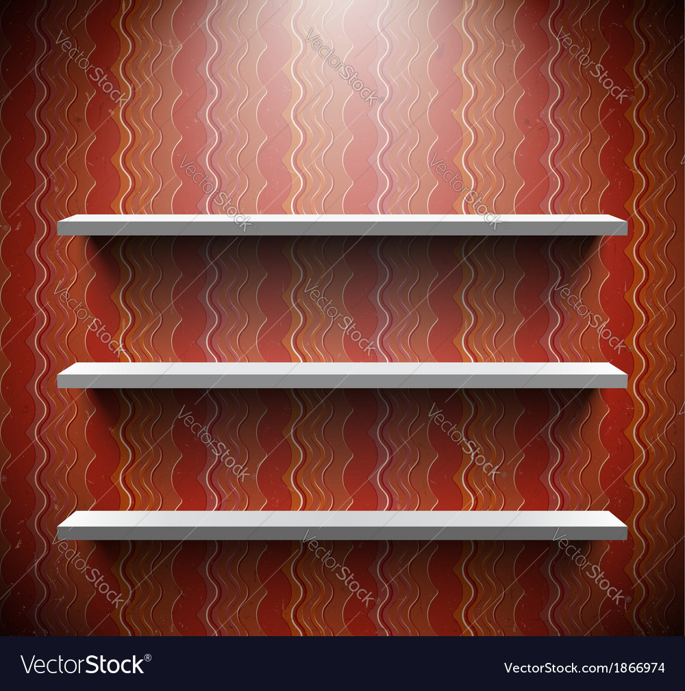 Three lightened shelves on old brown wall vector | Price: 1 Credit (USD $1)