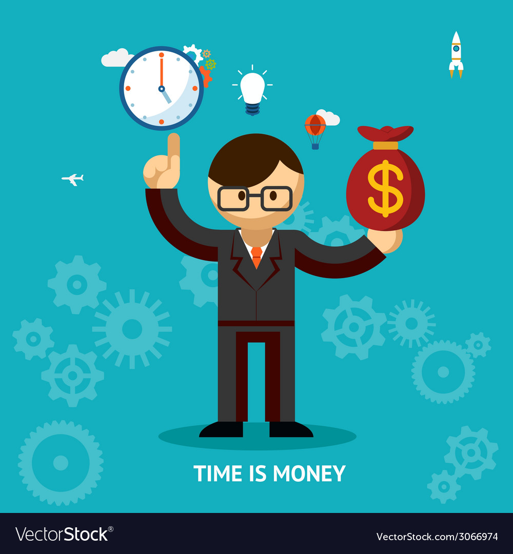 Time is money business concept vector | Price: 1 Credit (USD $1)