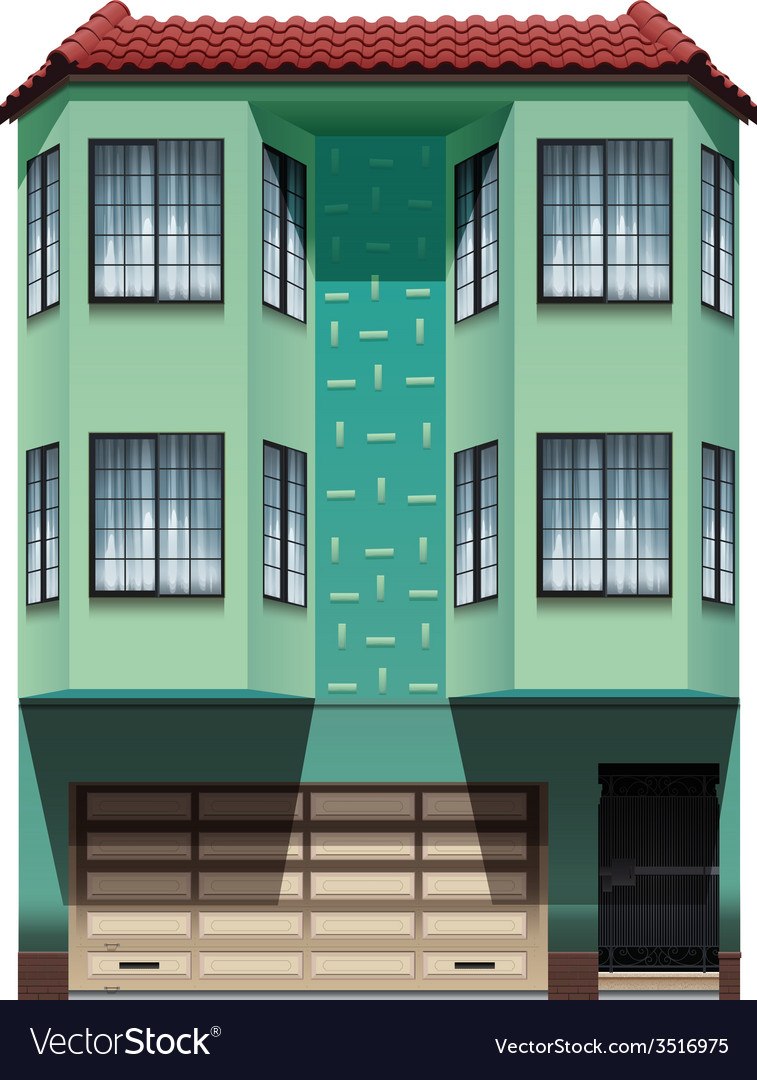 A building with an attached garage vector | Price: 3 Credit (USD $3)