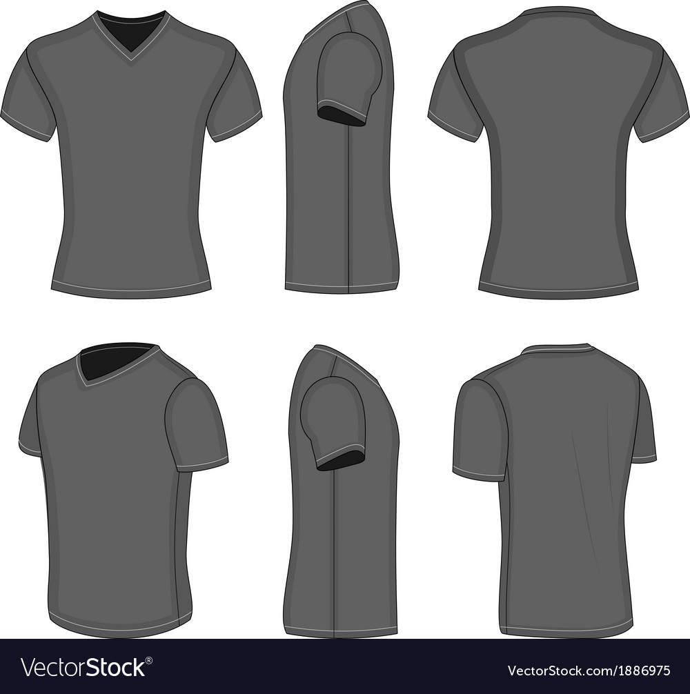 All views mens black short sleeve v-neck t-shirt vector | Price: 1 Credit (USD $1)