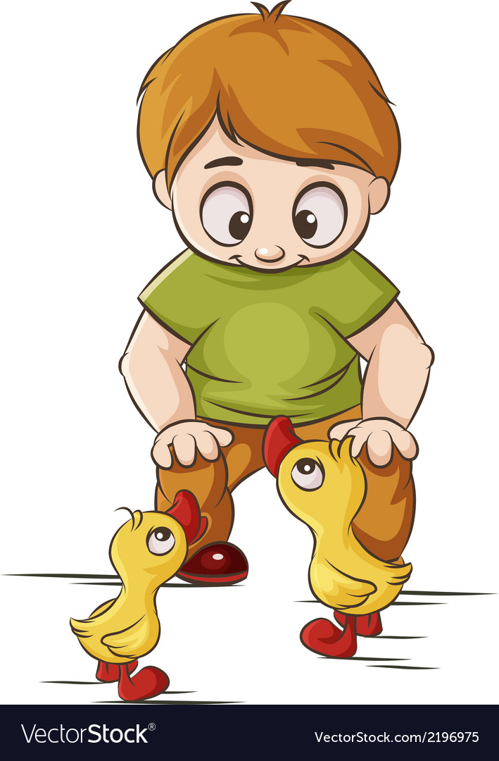 Baby with ducklings vector | Price: 1 Credit (USD $1)