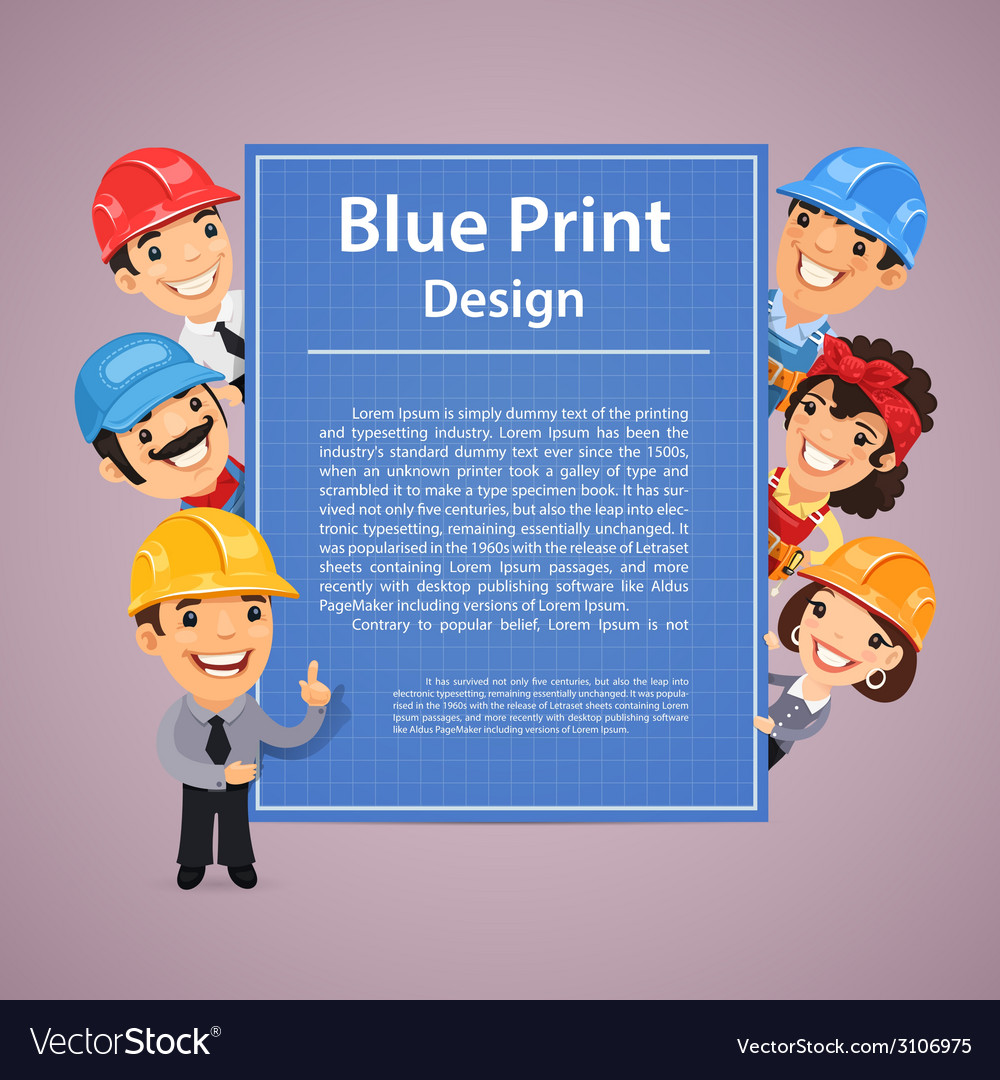 Builders presenting blue print poster vector | Price: 1 Credit (USD $1)