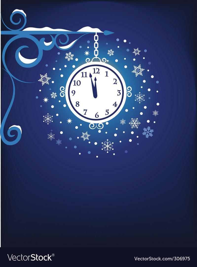 Clock at midnight vector | Price: 1 Credit (USD $1)