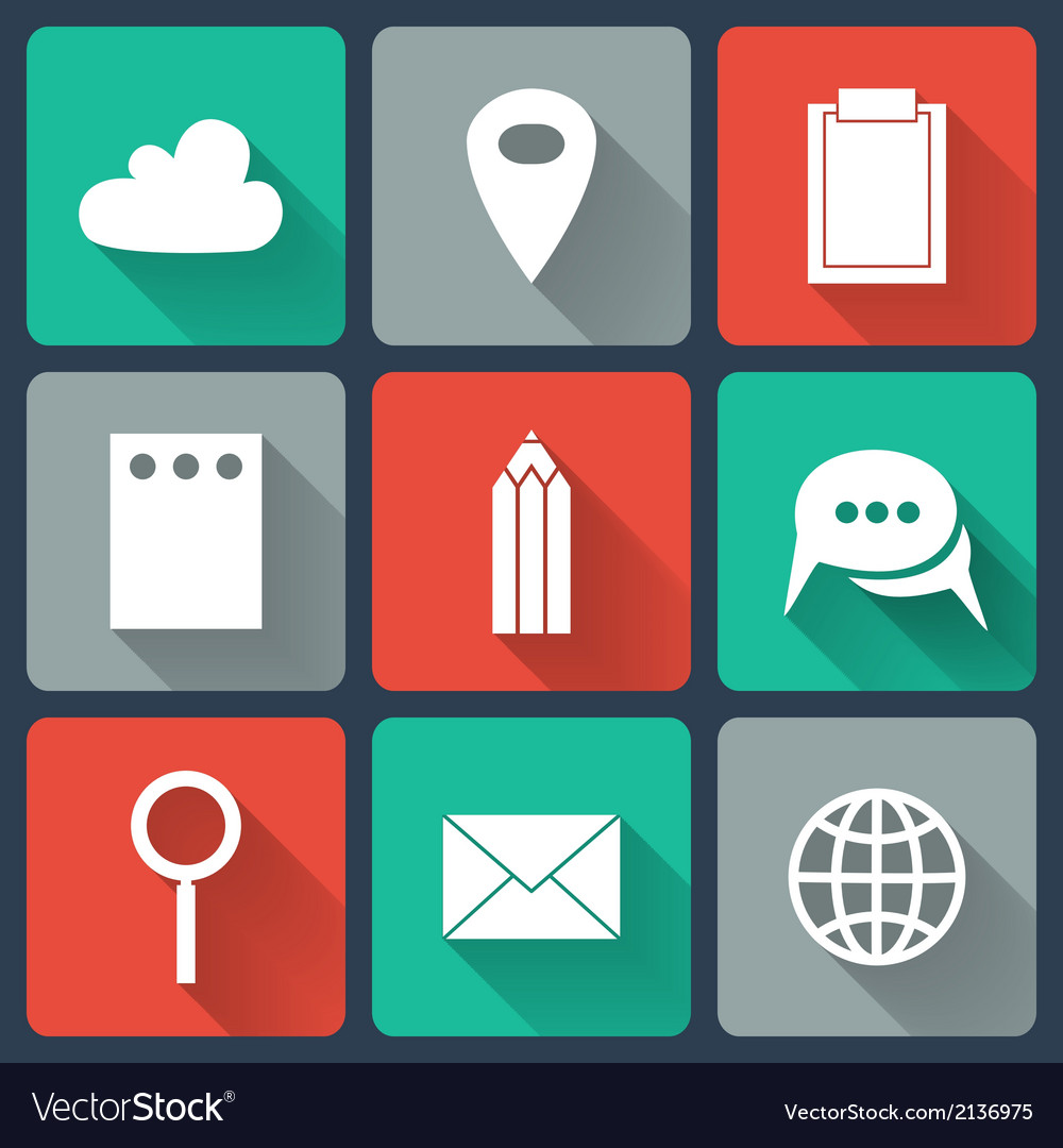 Colorful business flat icons vector | Price: 1 Credit (USD $1)