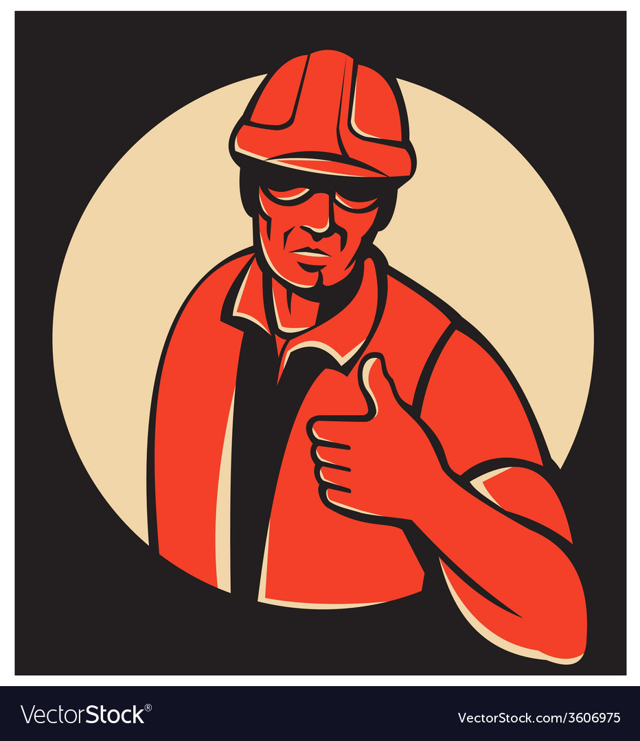 Construction worker thumb up retro vector | Price: 1 Credit (USD $1)
