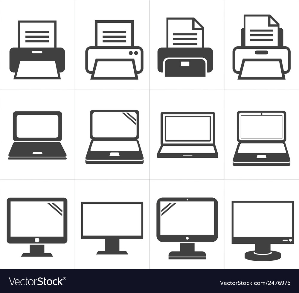 Icon office equipment fax laptopprinter vector | Price: 1 Credit (USD $1)