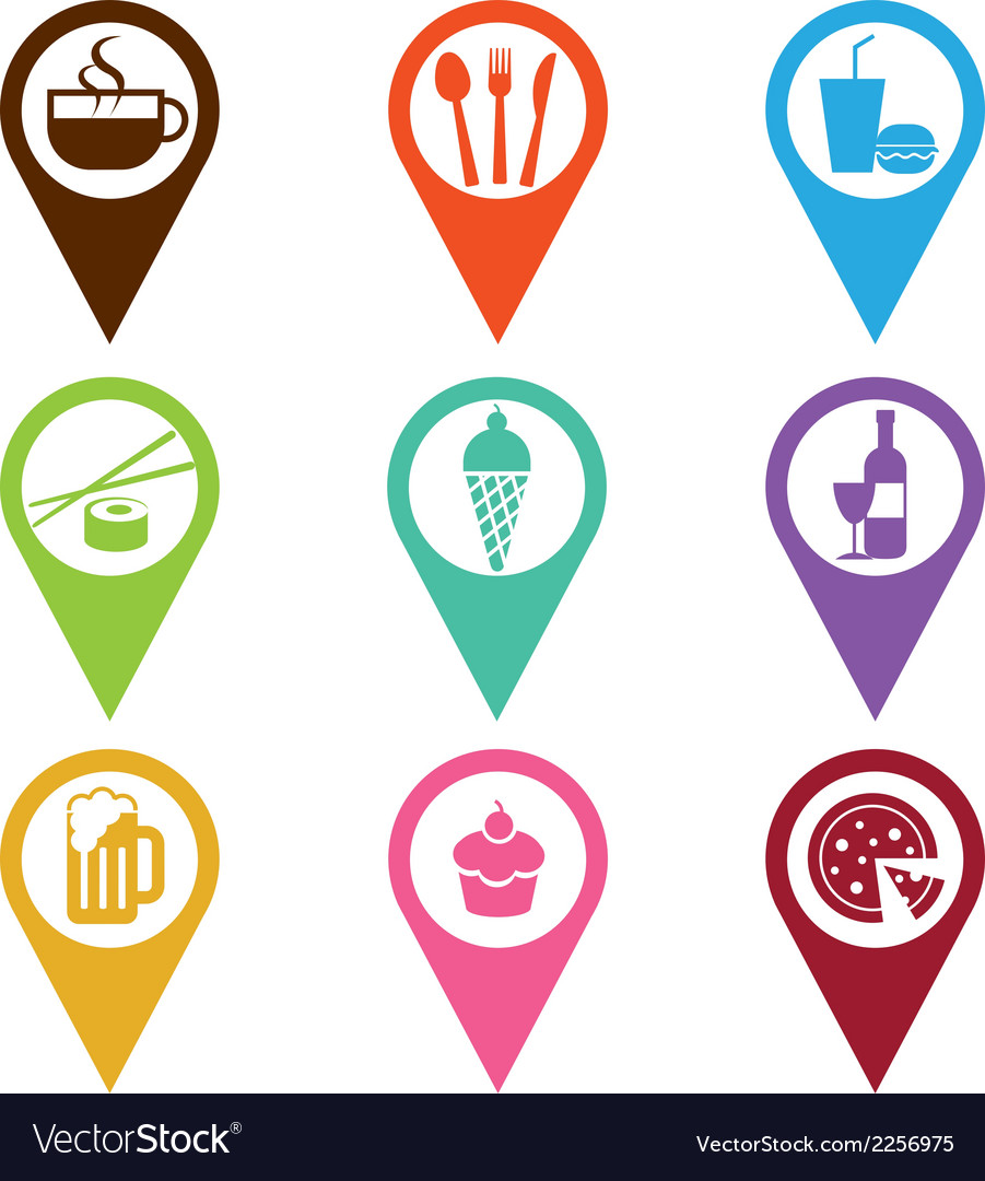 Mapping pins icon food and drink vector | Price: 1 Credit (USD $1)