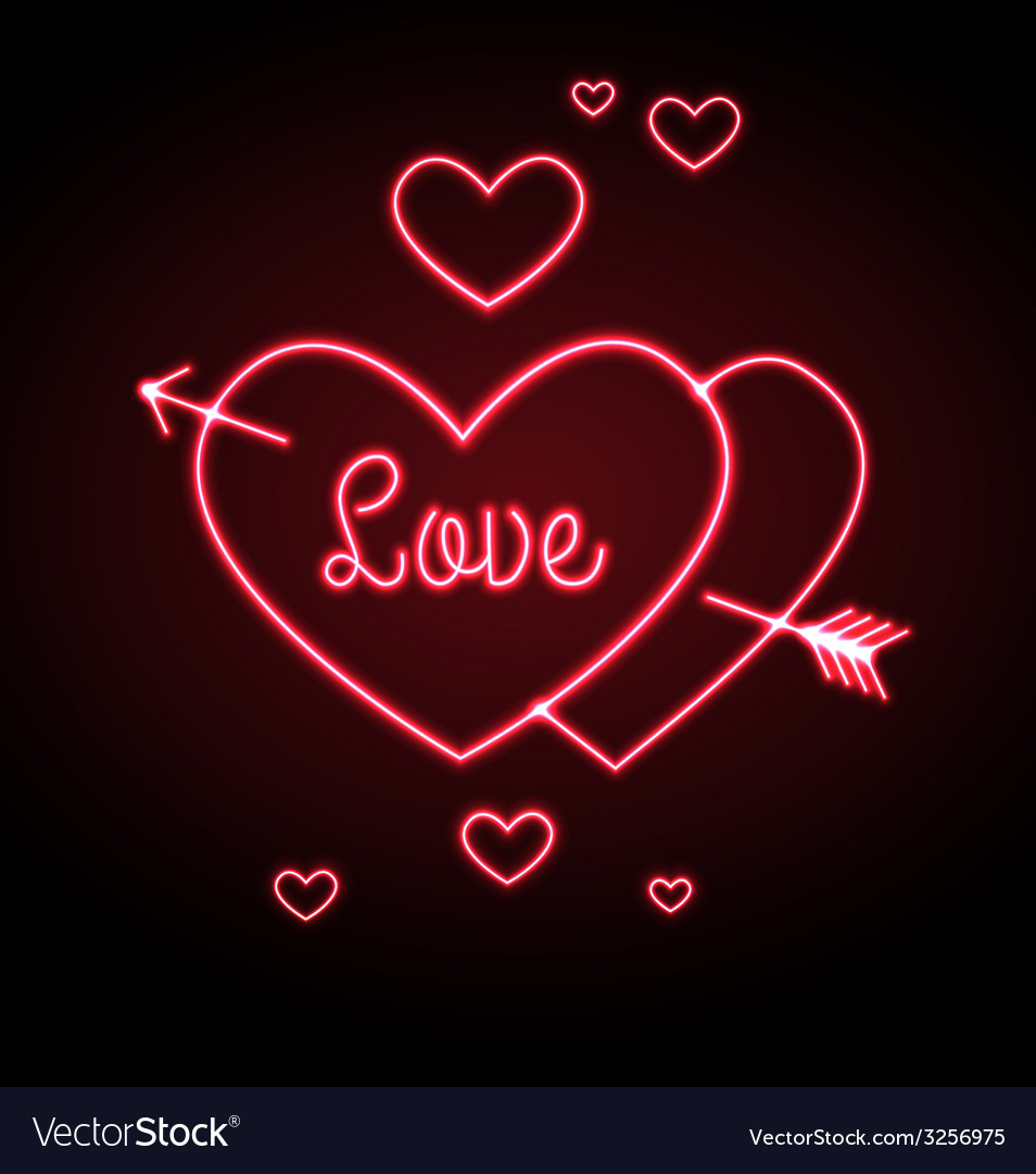 Neon sign love heart vector | Price: 1 Credit (USD $1)