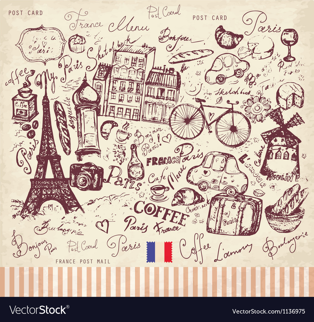 Postcard from paris vector | Price: 1 Credit (USD $1)