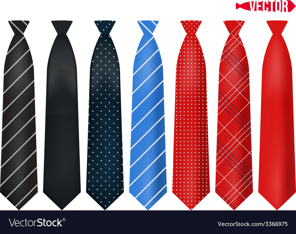 Set realistic colorful neckties vector | Price: 1 Credit (USD $1)
