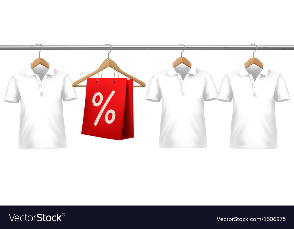 Shirts with price tags hanging on hangers concept vector | Price: 1 Credit (USD $1)