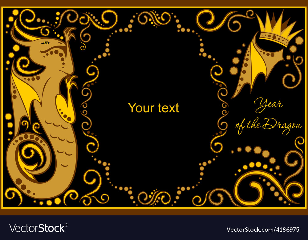 Template with sign chinese horoscope dragon vector | Price: 1 Credit (USD $1)