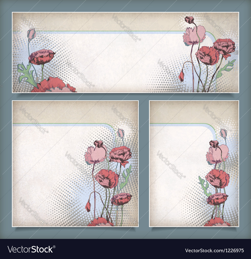 Vintage flower banners in different layout set vector | Price: 1 Credit (USD $1)