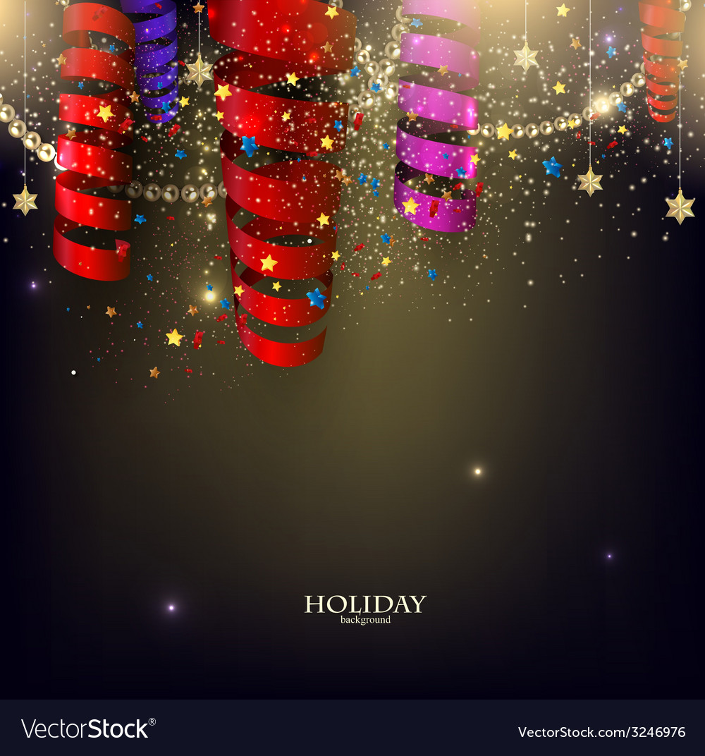 Colorful confetti and ribbons holiday background vector | Price: 1 Credit (USD $1)