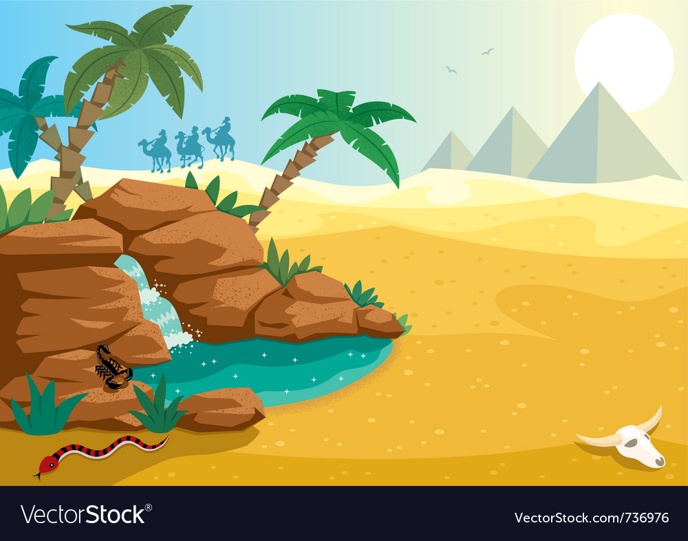 Desert oasis vector | Price: 3 Credit (USD $3)