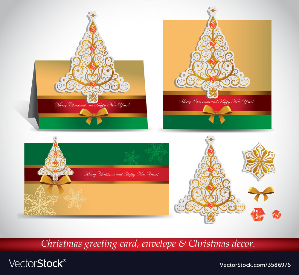Greeting cards with golden ornate christmas tree vector | Price: 1 Credit (USD $1)