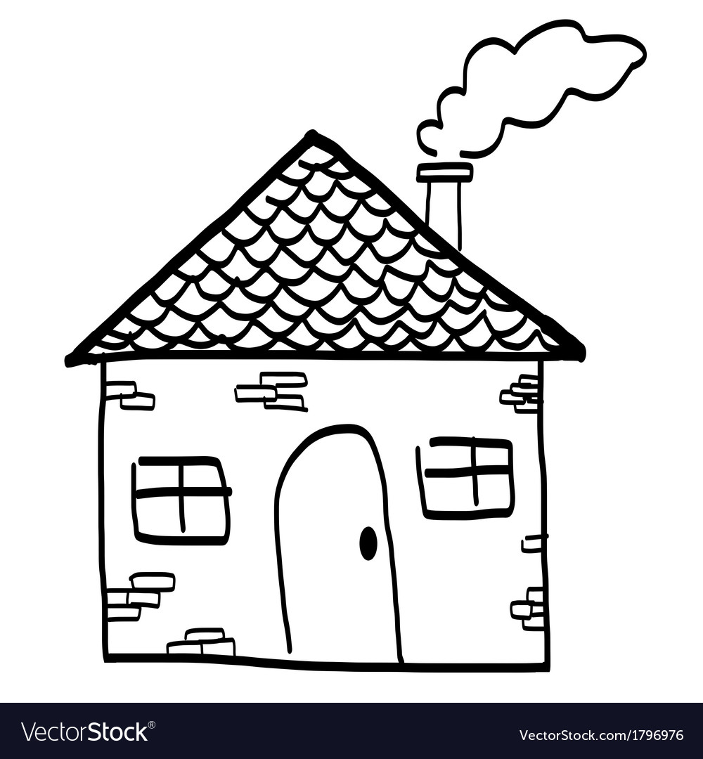 Hand drawn house in a sketch cartoon style vector | Price: 1 Credit (USD $1)