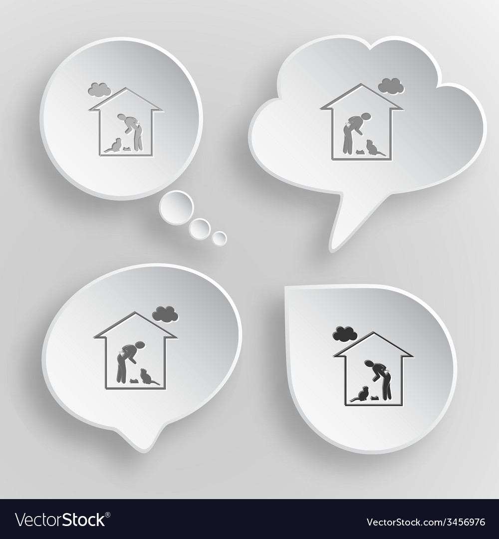 Home cat white flat buttons on gray background vector | Price: 1 Credit (USD $1)