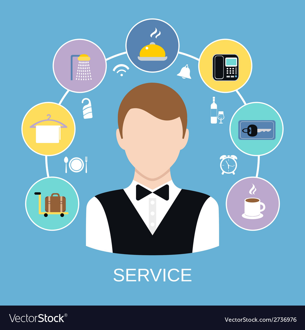 Hotel room service vector | Price: 1 Credit (USD $1)