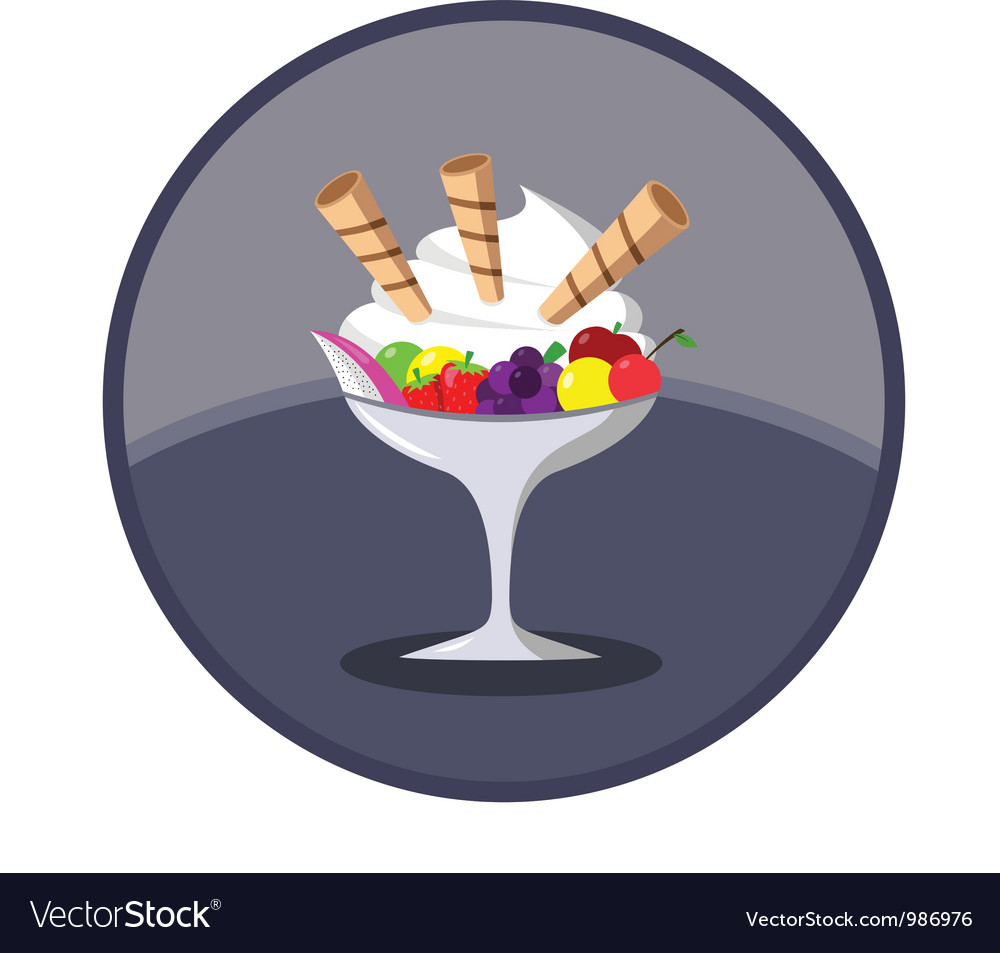 Ice cream dessert with fruits vector | Price: 1 Credit (USD $1)