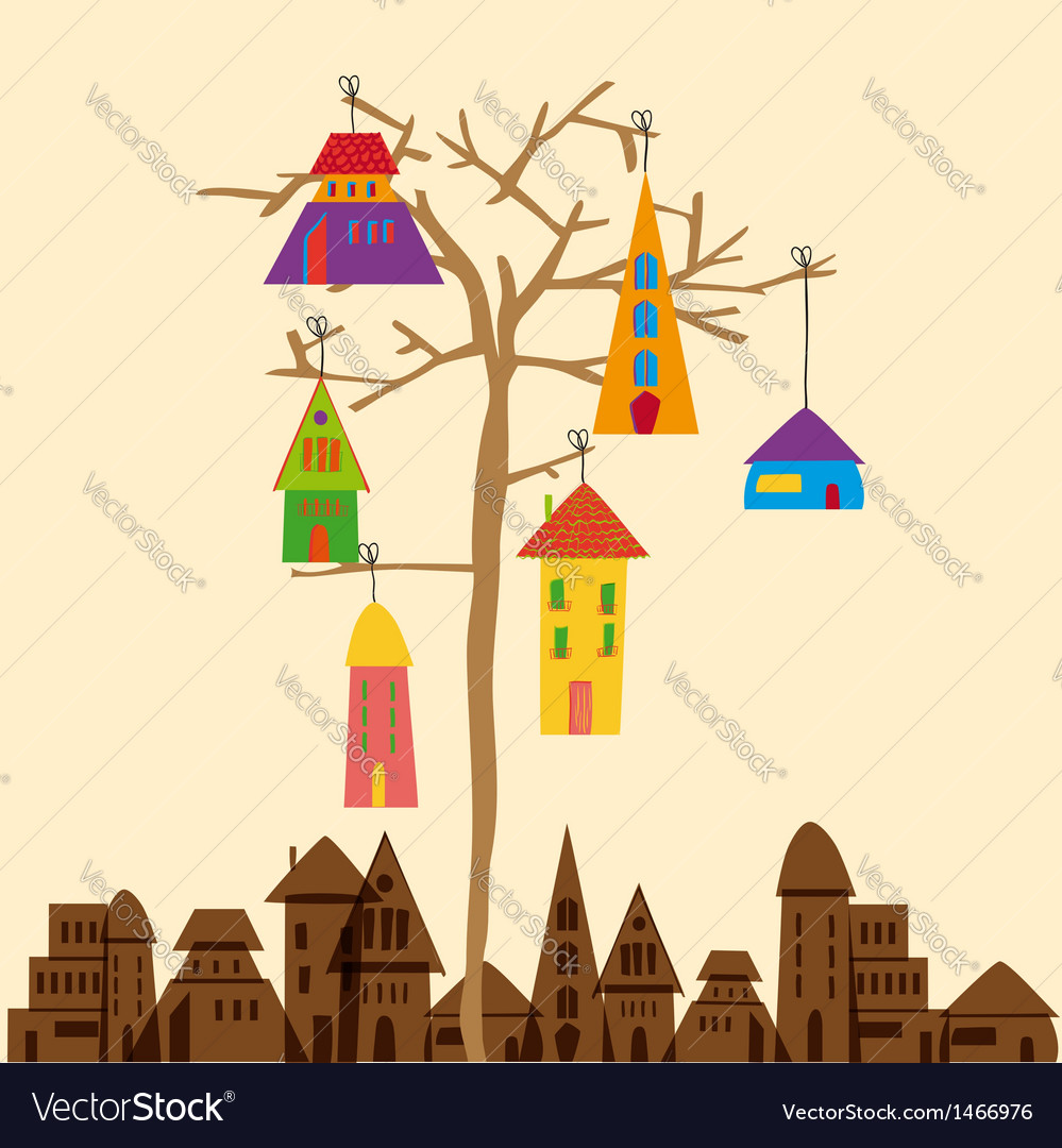 Little town tree vector | Price: 1 Credit (USD $1)