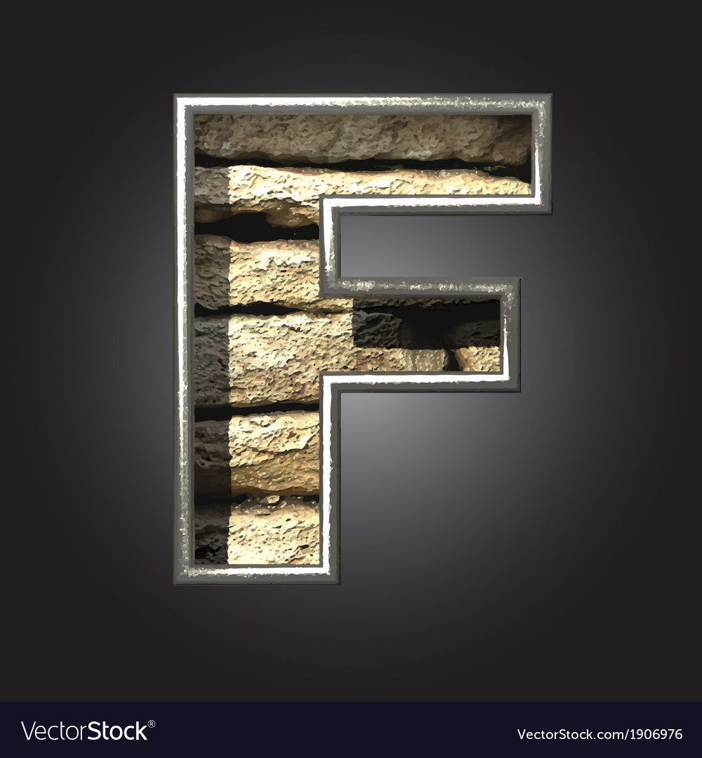 Old stone letter f vector | Price: 1 Credit (USD $1)