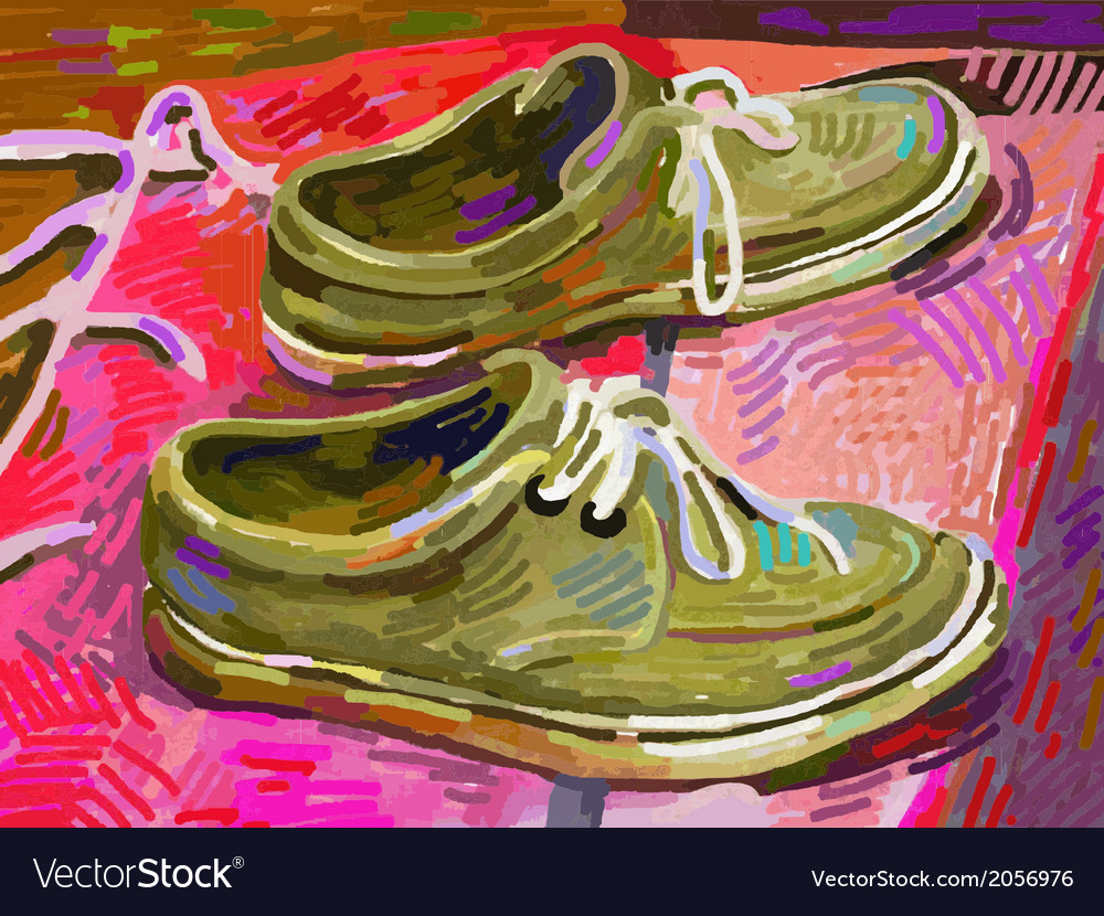 Original digital painting shoe on a carpet vector | Price: 1 Credit (USD $1)