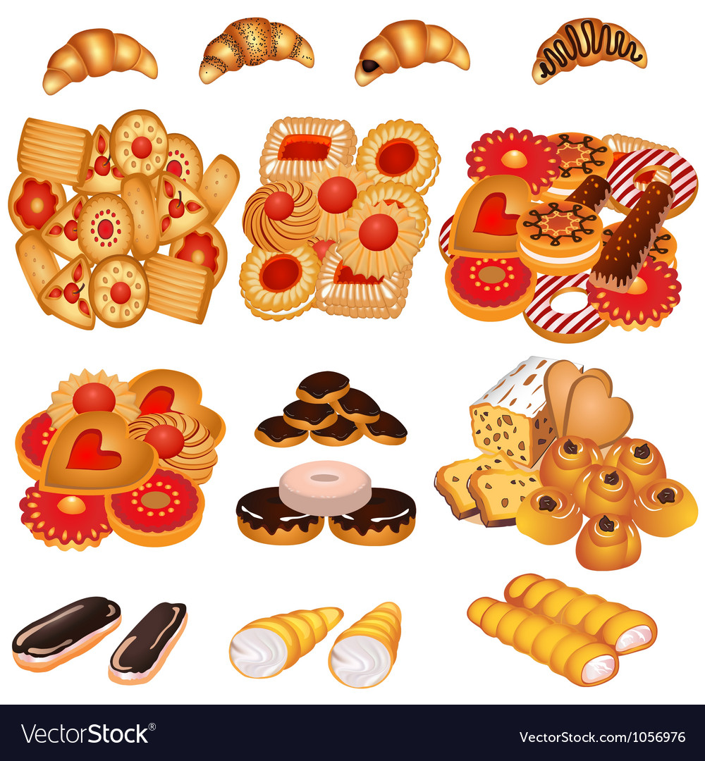 Set tasty sand cookies and cake vector | Price: 1 Credit (USD $1)