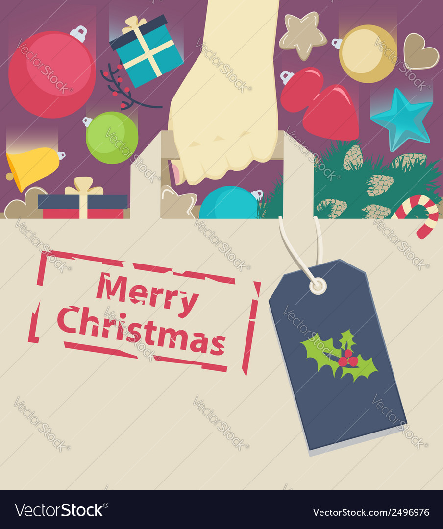 Shopping paper bag stamped with christmas wish vector | Price: 1 Credit (USD $1)