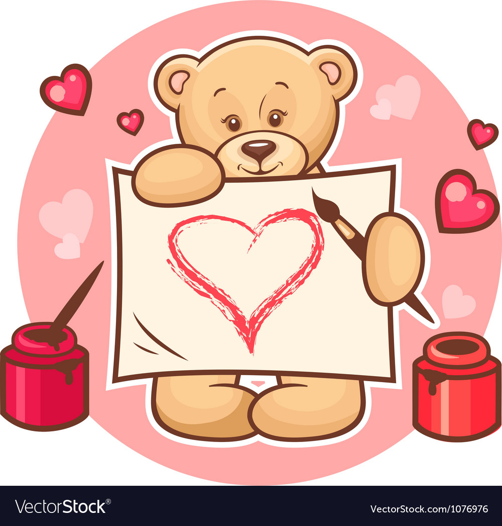 Valentine teddy with sign vector   Price: 3 Credit (USD $3)
