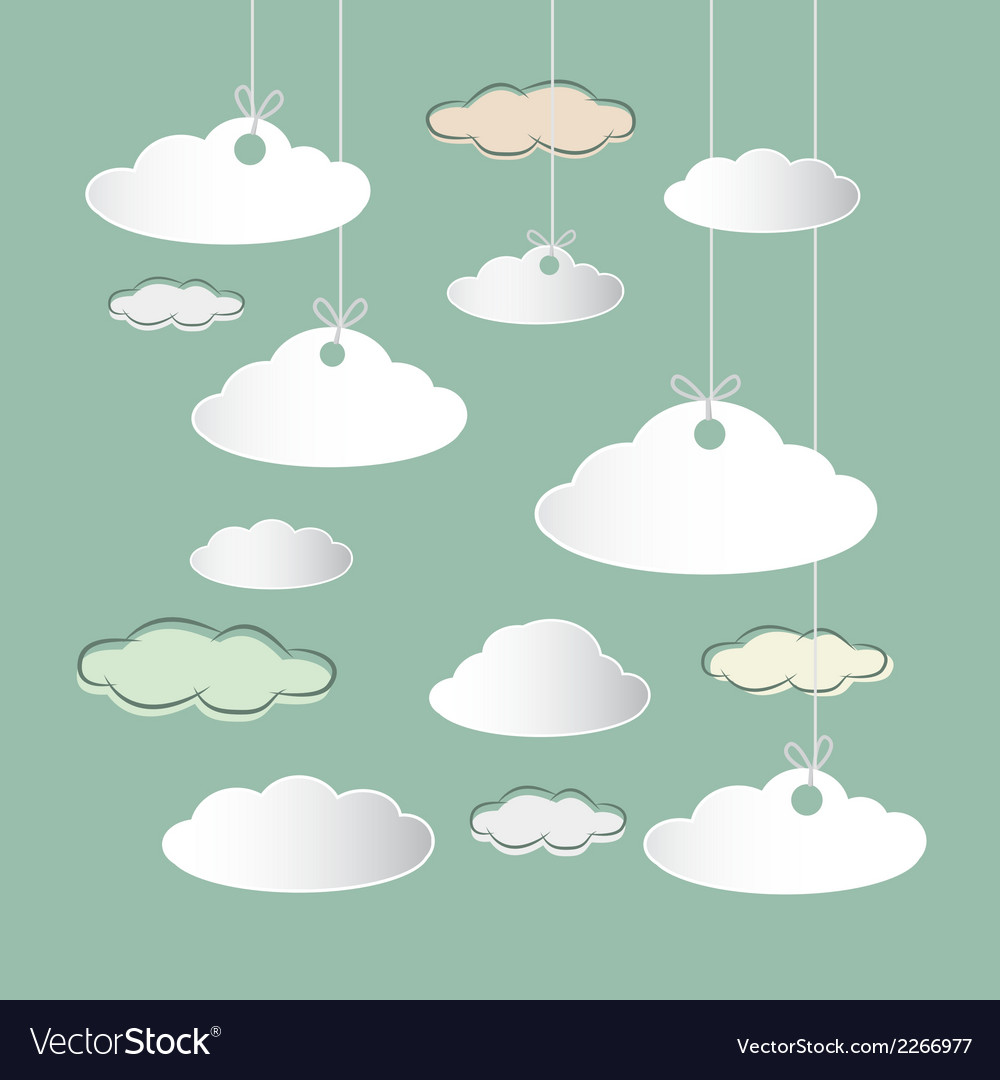 Clouds hung on strings on retro sky background vector | Price: 1 Credit (USD $1)