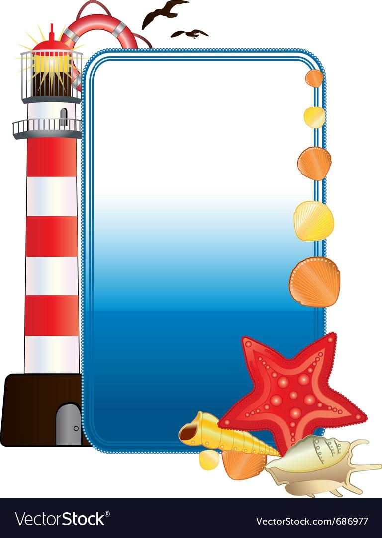 Sea postcard vector | Price: 1 Credit (USD $1)