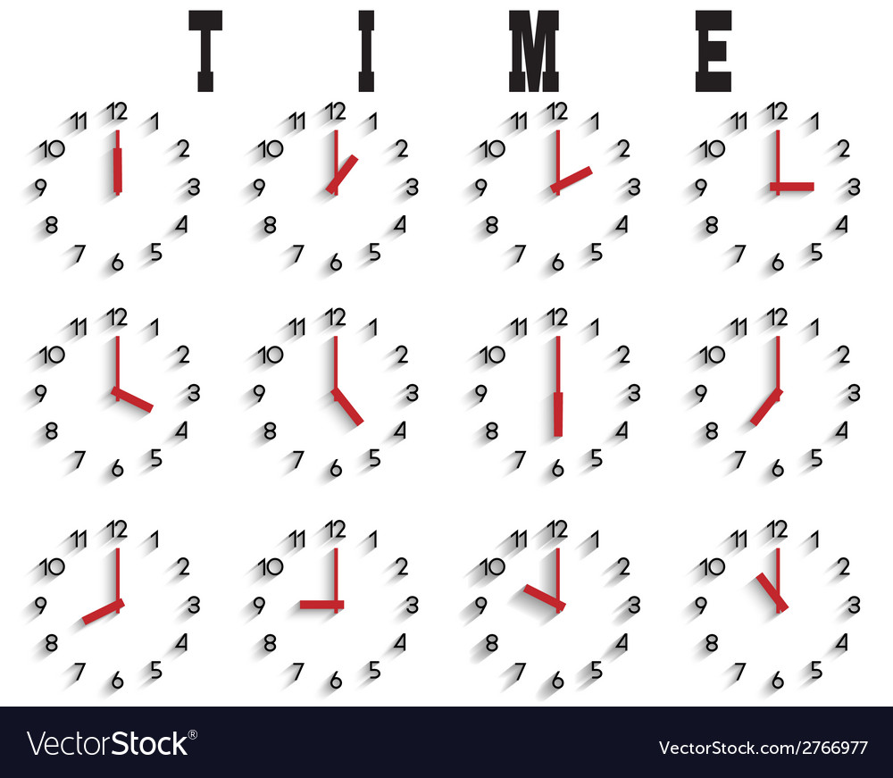 Set of clocks with transparent shadow vector | Price: 1 Credit (USD $1)