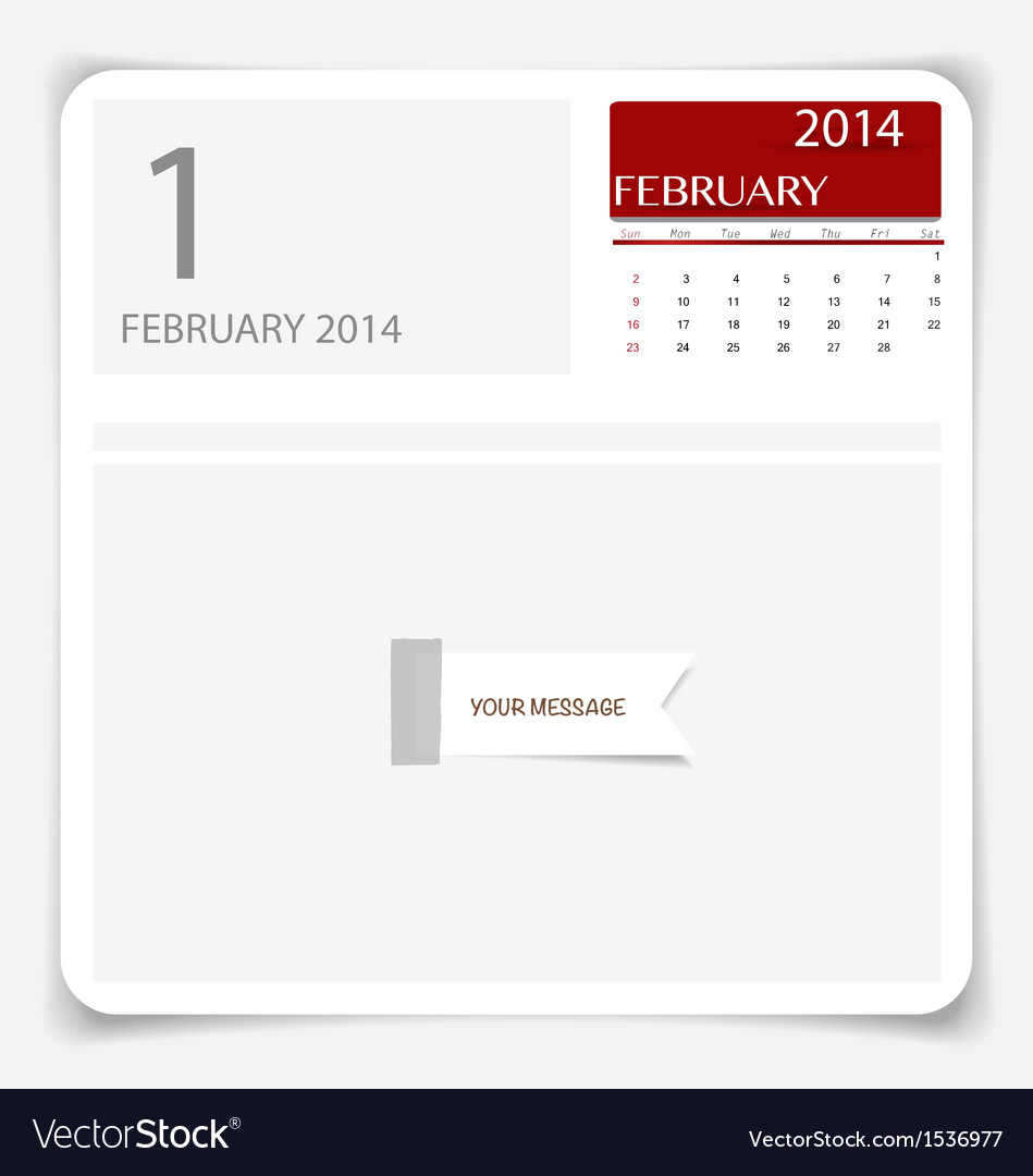 Simple 2014 calendar february vector | Price: 1 Credit (USD $1)