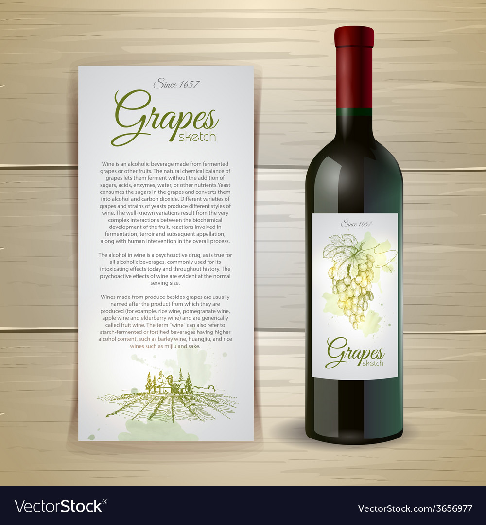 Wine bottle with label wine and grapes vector | Price: 1 Credit (USD $1)