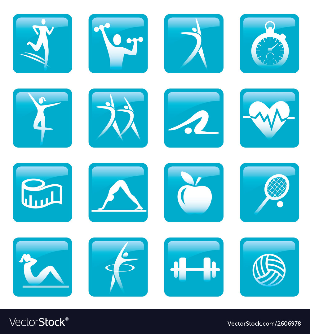 Blue fitness icons buttons vector | Price: 1 Credit (USD $1)