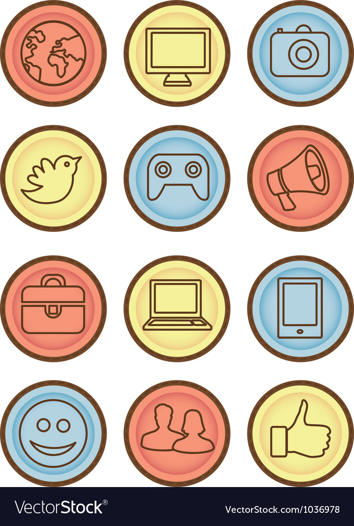 Bright badges with internet icons vector | Price: 1 Credit (USD $1)