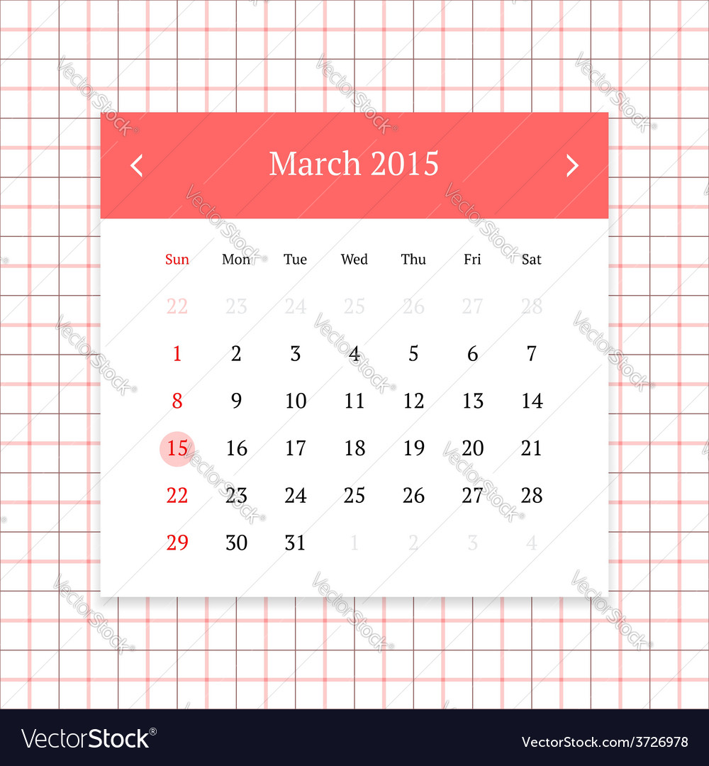 Calendar page for march 2015 vector | Price: 1 Credit (USD $1)