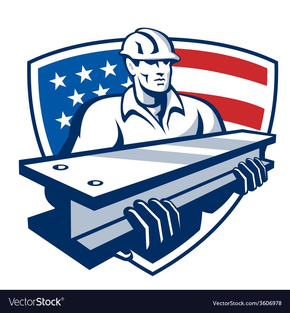 Construction steel worker ibeam american flag vector