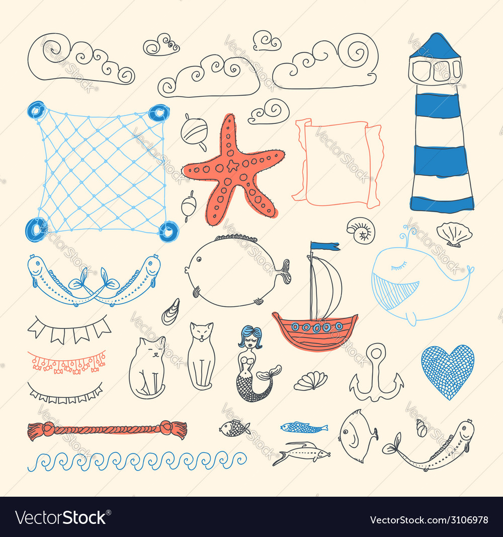 Cute sea objects collection vector | Price: 1 Credit (USD $1)