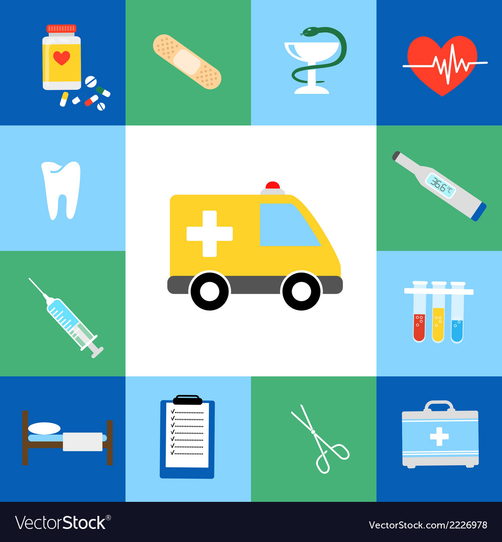 Set of medical flat icons vector | Price: 1 Credit (USD $1)