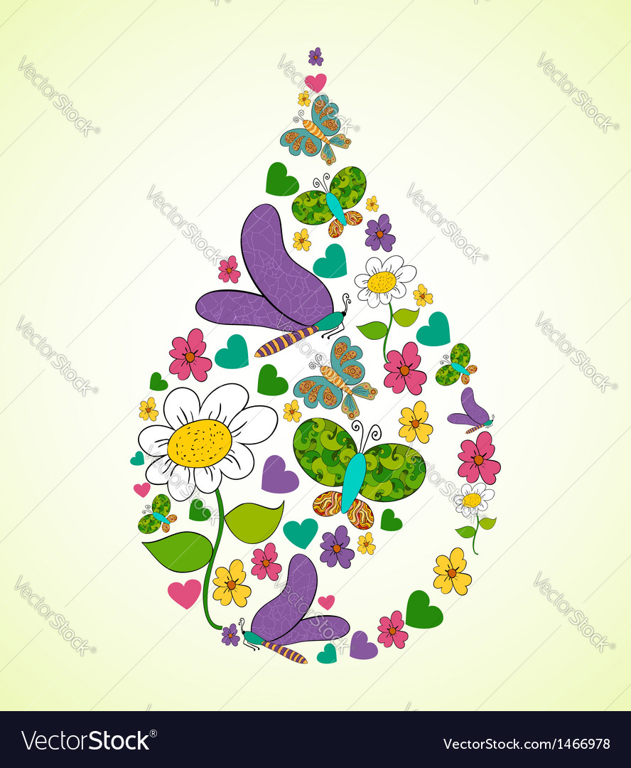 Spring flower raindrop shape vector | Price: 1 Credit (USD $1)