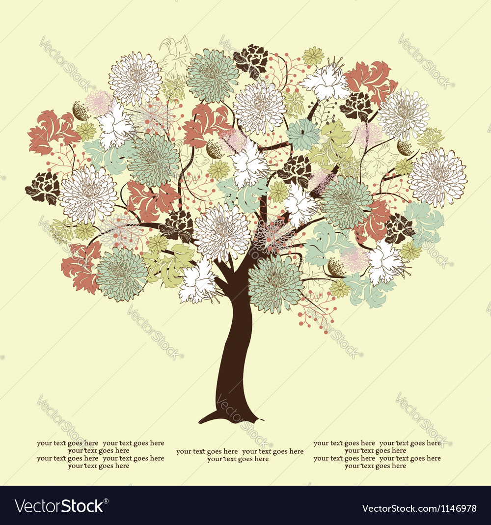 Tree silhouette with flowers symbol of nature vector | Price: 1 Credit (USD $1)