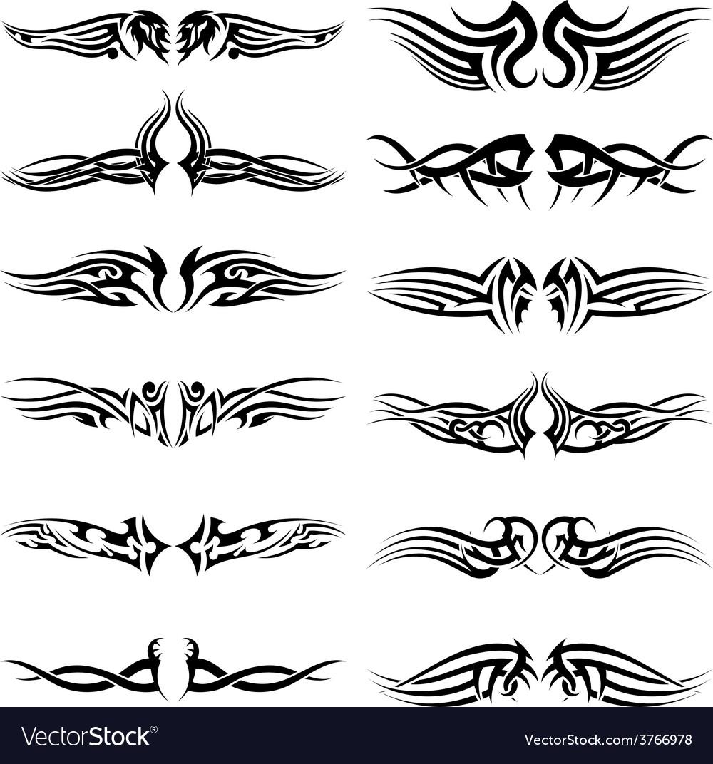Tribal tattoos set vector