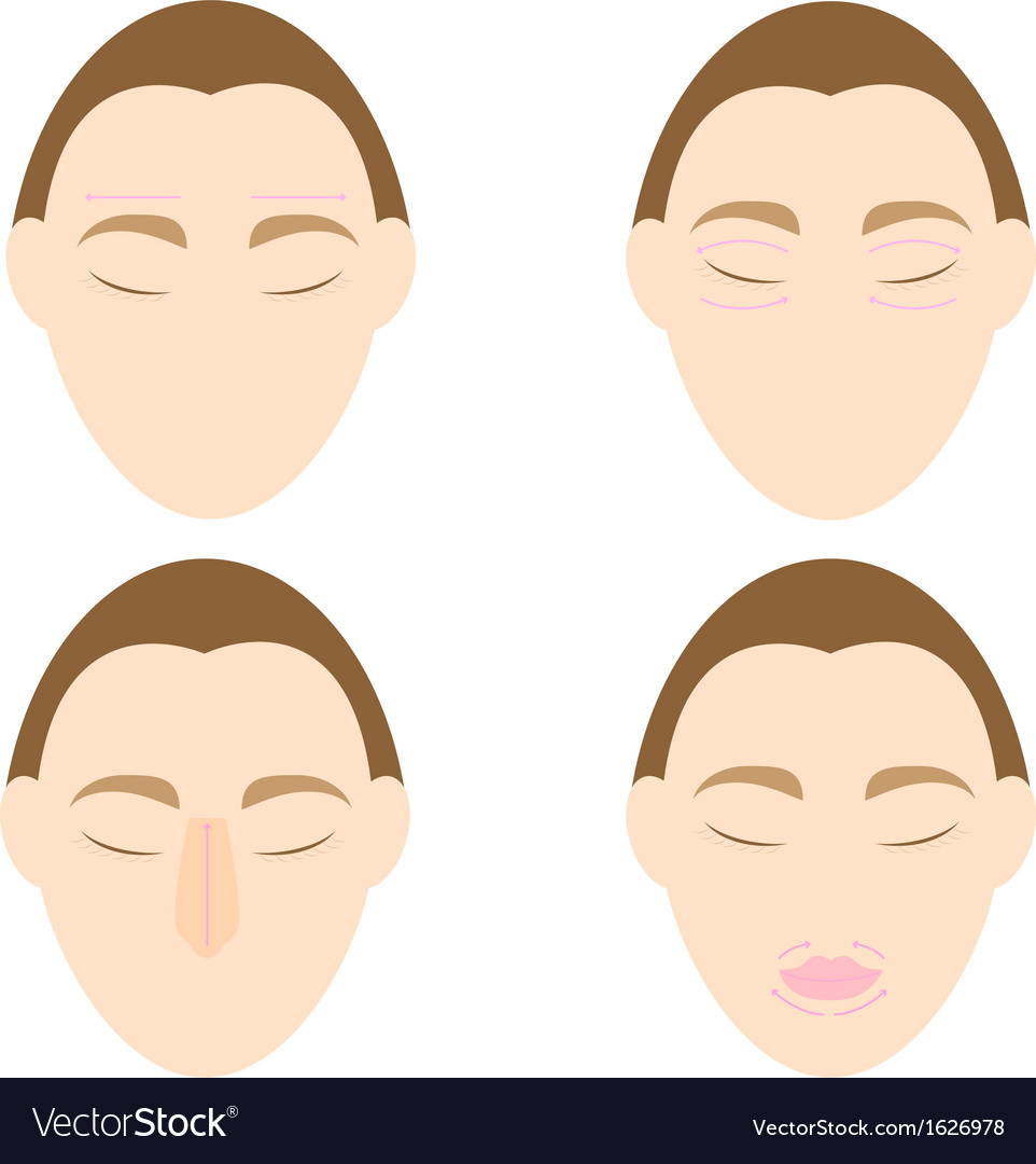 Woman easy massage anti face wrinkle 1 vector | Price: 1 Credit (USD $1)