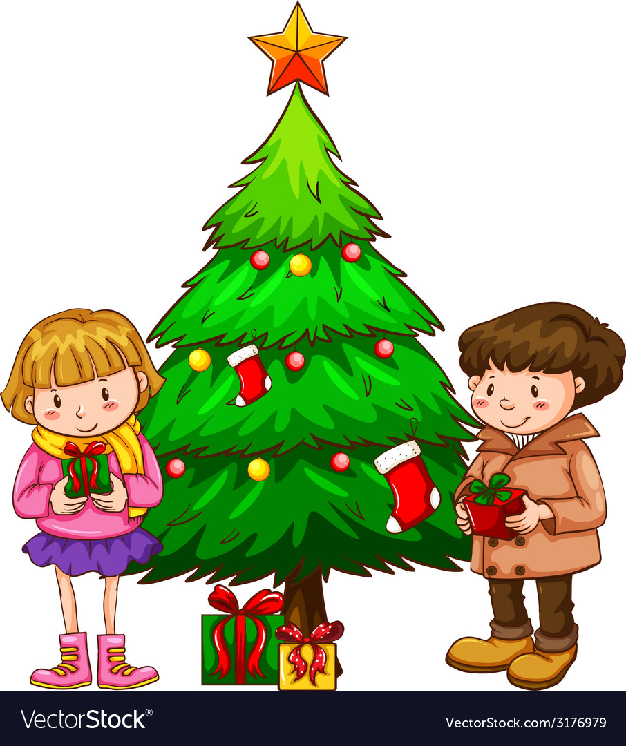 A simple sketch of the kids near the christmas vector | Price: 1 Credit (USD $1)