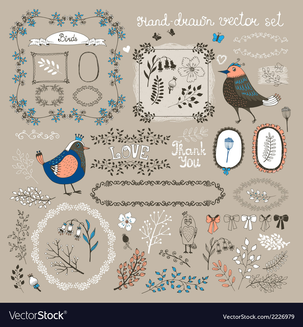 Birds twigs and flowers vector | Price: 1 Credit (USD $1)