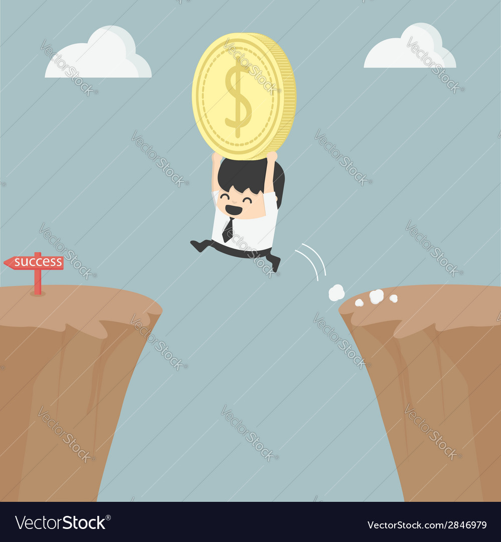 Businessman holding money jumping over the cliff vector | Price: 1 Credit (USD $1)