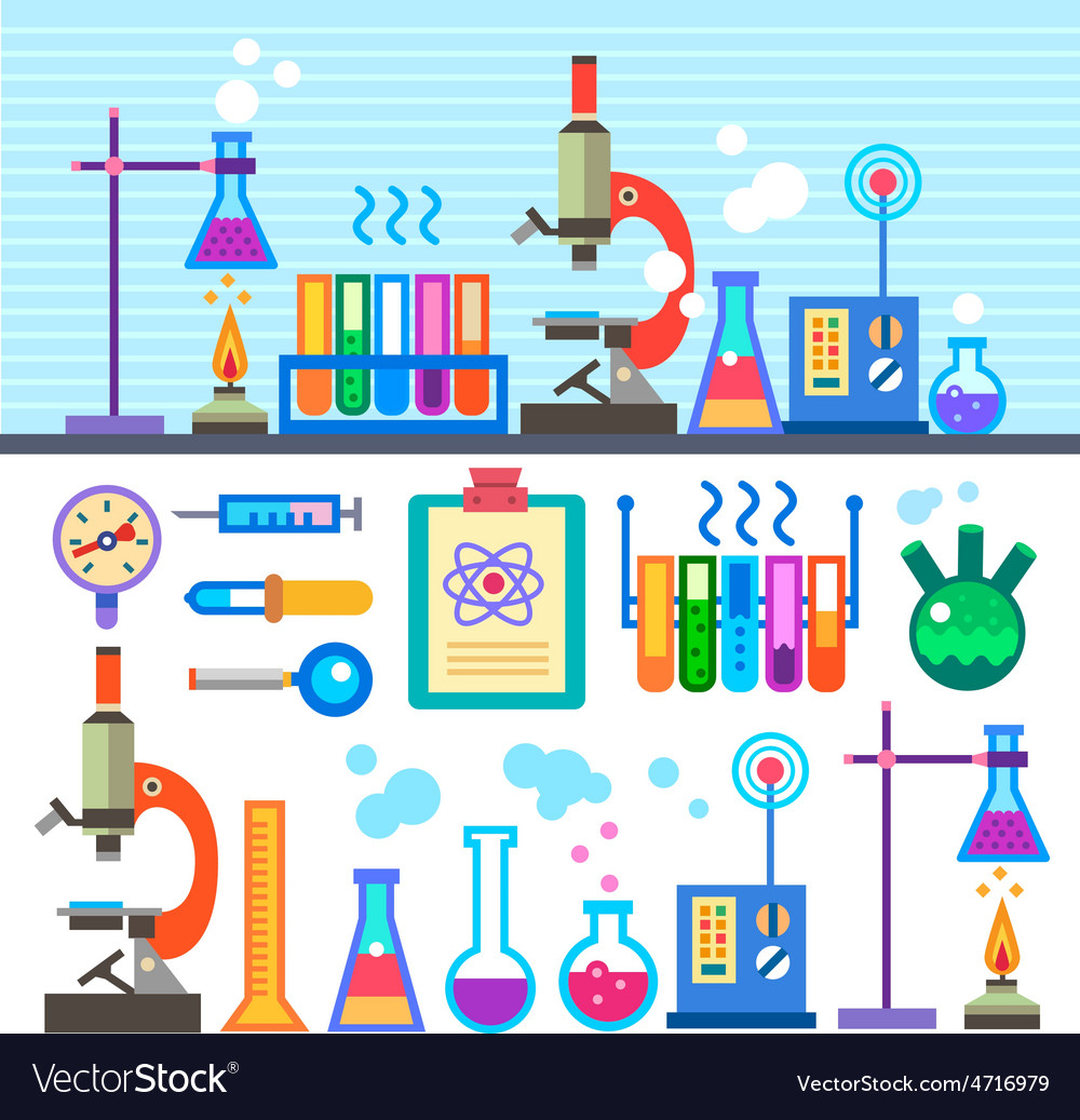 Chemical laboratory in flat style vector | Price: 3 Credit (USD $3)